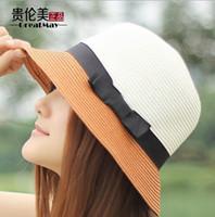 Wholesale New summer beach sun hat jazz summer hats for women fashion brand straw hat cap vintage lady Bow floppy Hat
