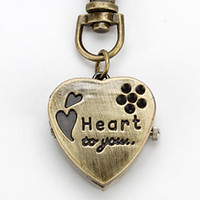 Wholesale Wholesalers fashion Originality element Unisex Heart shaped Alloy Analog Japan movement Quartz Keychain Watch Bronze