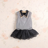 Cheap 2014 New Fall Item!Children Girl's Spring Autumn Jointed Sleeveless Plaid Lace Embroidery Dress,Korean Fashion Design,Girl's Dress,5 Pcs Lot