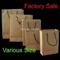 Cheap Wholesale-100pcs lot ,whole sale kraft paper bags with string handle with no print,gift bags handbag ,260g 15cm(L)*20cm(H)*6cm(D)