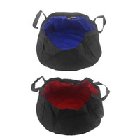 bath car wash - Ultra light Folding Portable Nylon Water Washbasin Wash Bag Foot Bath Quick Dry for Outdoor Camping Picnic Fishing L Blue Red H11600