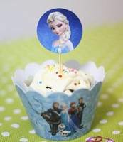Wholesale Kids party supplies Wrappers Cards Frozen cupcake wrappers Insert cards kids birthday party supplies