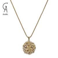 Pendant Necklaces copper alloy - New Hollow Out Beautiful little flowers Women Necklace Long Copper Alloy Chain charm Pendants classic retro jewelry