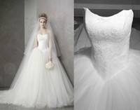Wholesale 2016 Spring Sheer Strapless Backless Sleeveless Lace Appliques Princess Ball Gown Wedding Dresses Court Train Spring New Arrival Bridal Gown