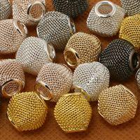 large hole beads - 120pcs x12mm Bicone Shape Colours Available Large Hole Mesh Net European DIY Beads fit for European Bracelet