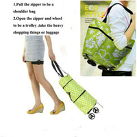 Cheap Wholesale-Free shipping portable shopping cart,foldable shopping trolley tote bag with wheel Rolling folding shopping bag