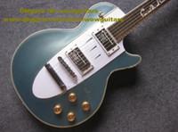 Wholesale Cyan Blue Mahogany Body Rosewood Fingerboard Mahogany Top Mahogany Side Back H H Pickups Silver Hardware Electric Guitar No F S
