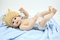 """Cheap Wholesale-OP-55 cm\22"""" Soft simulation Reborn Baby girl Dolls brown eyes smiling real baby doll handmade realistic kids toy"""