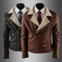 Wholesale 1369 New HOT High quality Fashion Men s Slim Lapel Neck Multiple zippers Lamb PU Leather Faux Leather motorcycle Jackets Coat Outerwear