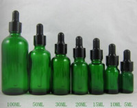 Wholesale Empty Green Glass Bottles ml with Black Caps Dropper for eGo E Liquid Oil Bottle for Electronic Cigarette