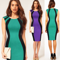 Wholesale Fashion autumn elegant patchwork color block a line sleeveless work dress short sleeve slim ol one piece dress