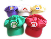 Wholesale 5 style Super Mario Bros Cotton hat luigi Cap L Anime Cosplay Red Green Xmas Gift