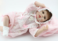 Cheap Wholesale-OP-22 inches LUCY Reborn babies soft silicone vinyl reborn baby dolls realistic lifelike handmade doll girl toys