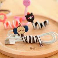 Wholesale Long design storage hub cartoon earphones computer cable winder management ray device tie line belt cable winder