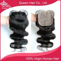 Cheap Queen Hair Silk Base Closure Brazilian Hair Body Wave 100% Virgin Human Hair Wigs No Sedding No Tangle With Shipping Free DHL