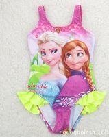 Wholesale Retail Frozen Princess Elsa Anna Baby Girls One Piece Swimsuit Girls Swimwear Children Bathing Suits Kids Swim Clothing