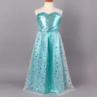 TuTu Summer A-Line Wholesale-EMS FREE [2lot-10pcs] sleeveless Children's dress girls Anna Elsa lace Fantasy blue girls frozen dress girls clothing 4-12Y
