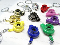 Wholesale New Arrival Fashion Auto Spinning TURBO Turbocharger Keychain Car Key Chain Turbine Key Ring LLY728