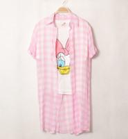 Cheap Korean Stylenanda large lapel short-sleeved shirt long paragraph loose chiffon plaid shirt female coat