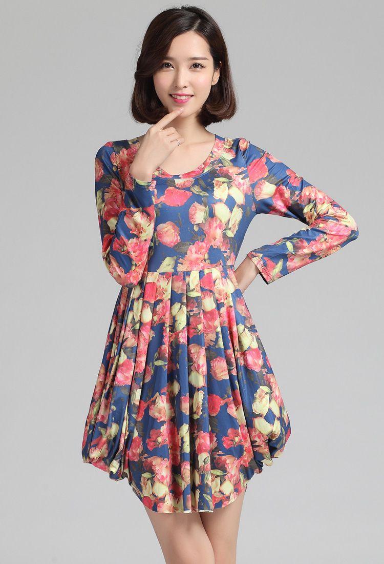 xl xxl xxxl 4xl women plus size long sleeve floral print pleat autumn ...
