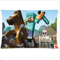 Wholesale Sandbox game Minecraft Horse printed design Custom Rectangle Pillow Case quot x24 quot quot x30 quot Minecraft