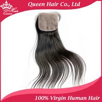 """Cheap Free Style Part Silk Base Closure Brazilian Virgin Hair Straight Hair Lace Closure 4""""x4"""" Silk Top Closure DHL Free Shipping"""
