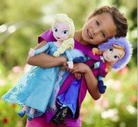 Wholesale New Arrival Cartoon Forzen Baby Kids Stuffed Plush Toys Elsa And Anna Princess Dolls cm Inch Big Size Children Frozen Dolls Toys