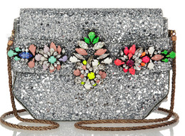 Women Vintage shourouk argento clutch bag crystal sequins glitter PVC messenger bag handbag cross body shoulder bags totes wallet purse