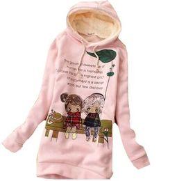 Wholesale Women s Hoodies Embellished Long Style Hoodie Cartoon Cotton Coat E281