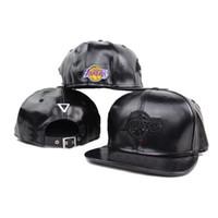 Wholesale Lakers Snapbacks Leather Caps Cheap Basketball Hats Strape Snap Back Hats Fashion Flat Brim Caps New Design Adjustable Hats
