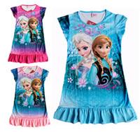 nighties - 2014 New FROZEN Elsa and Anna girl girls short sleeve pajamas nightgown sleepwear nightie dress children