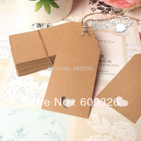 Wholesale LiNg s ps Brown Retangle Kraft Tags With Twine Strings Favor Gift Tags Wedding Party Favour Supply Gift Cards