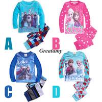 Wholesale New Spring autumn children cartoon pajamas suits frozen character printed girls boys cotton sleepwear sets nighty kids pajama Night suit