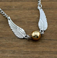 potter - 2014 new Harry Potter Hogwarts Quidditch Silver Wings Snitch Gold Necklace pendant golden snitch Necklace golden