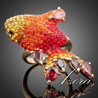 Cheap 18K Real Gold Plated Multicolour Stellux Austrian Crystal Red Carp Ring for Valentine's Day FREE SHIPPING!(Azora TR0025)
