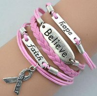 Cheap faith believe hope cancer Awareness Charm Bracelet in Silver Breast Cancer Awareness Ribbon with pink wax leather bracelets
