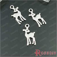 Cheap Free Shipping Wholesale 17*10mm Antique Silver Baby Deer Alloy Charms Diy Jewelry Findings Accessories 50 Pieces(JM5756)