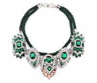 Cheap fashion accessories luxurious emerald flower pendant necklace women 2014 statement item quality shourouk crystal vintage choker