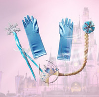 Wholesale 2014 Frozen Princess set Elsa Costume Frozen Girl Plait Gloves Dress Up Set Princess Cosplay Child Wand Tiara clip in hair party