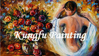Cheap 6038 100% Hand painted good quality decorative palette knife art naked women flower girls pictures art