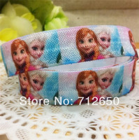 Wholesale Fold Over Elastic Ribbon Printed with FROZEN inch mm holiday ribbon yards EFTL044 hairbow accessory