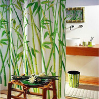 Wholesale Green Bamboo Natural Landscape Design Bathroom Shower Curtain Fabric Hooks