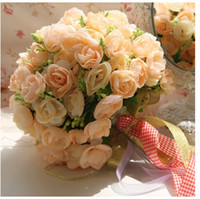 Cheap 2014 Hot Sale Hand Made Flower Bridal Bouquet In Stock Artistical Rose Silk Ribbon Bridal Hand Holding Flower New Arrival Muilt Color WX