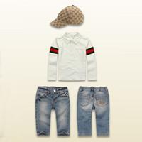 2014 Boys Brand sets 3 pcs set T- shirts + Jeans + Hats Child...