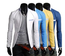 Wholesale A grain of buckle splicing collar design fashion Men s leisure small suit
