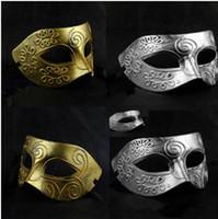 Wholesale 2014 Mens Halloween costume mask Greece Rome warrior make up mask masquerade masks gold silver