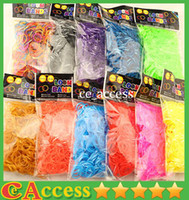 Cheap 133 Quality Loom Bands Glitter Jelly Glow in the dark Dual Color Multi Color Rubber Bands Loom Band Wrist Bracelet (600 bands + 24 clips)
