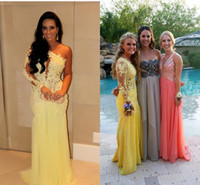 Trumpet/Mermaid Reference Images One-Shoulder 2014 SSJ Single Long Sleeves wedding Dresses Lace Appliqued Sheer Back Mermaid Floor-Length Yellow Tulle Skirts Celebrity Prom Dresses