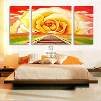 Cheap Oil painting rose pure home decorative wall size art painting picture frame