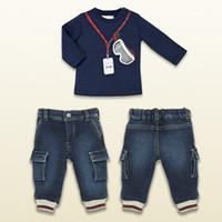 2014 Boys Brand sets 2 pcs set T- shirts + Jeans Children Spr...